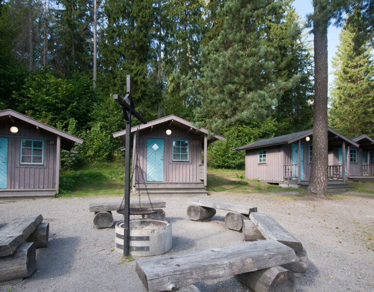 bruna små stugor med blå dörr och grillplats framför dörr oc